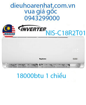 Điều hòa Nagakawa 18000BTU 1 chiều inverter NIS-C18R2T01-VUA GIÁ GỐC