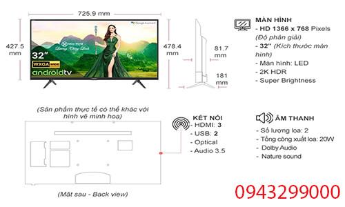 kích thước tivi casper 32 inch 32hg5200