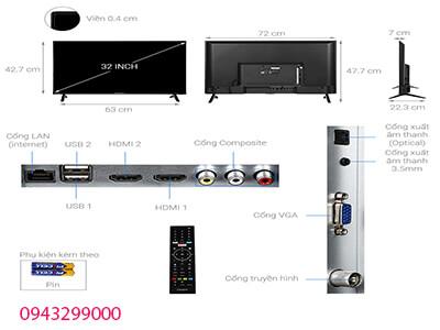 sơ đồ kích thước tivi casper 32 inch 32HX5200