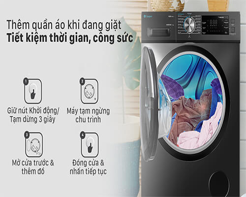 tiết kiệm thời gian khi sử dụng máy giặt casper